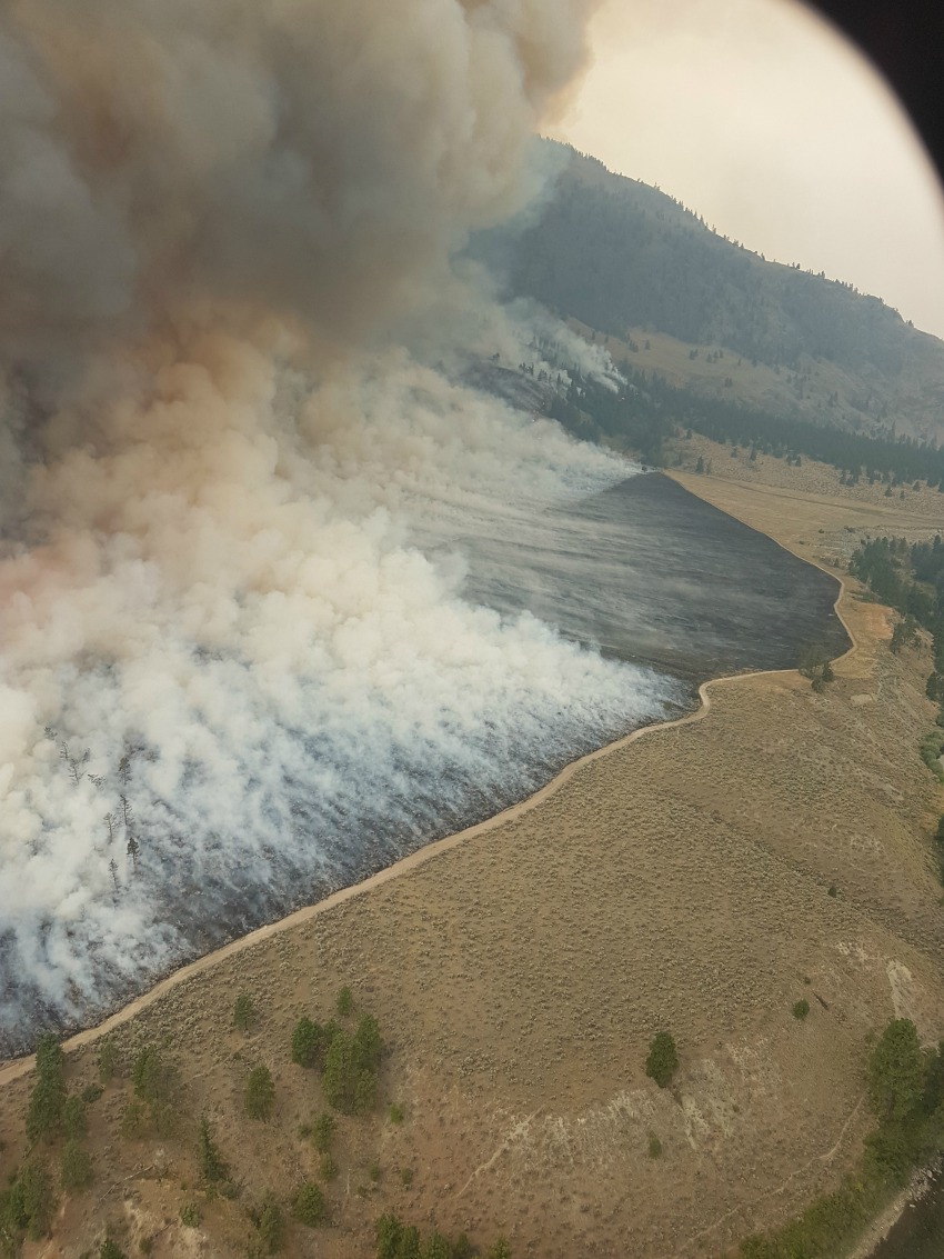 <who>Photo Credit: BC Wildfire Service</who>Burn off operation of the east flank of the fire.