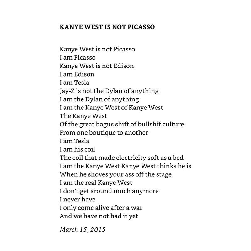 Poem titled 'Kanye West is not Picasso' by Leonard Cohen