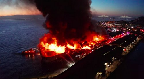 VIDEO: Dramatic aerial footage shows crew battling Fisherman's Wharf fire
